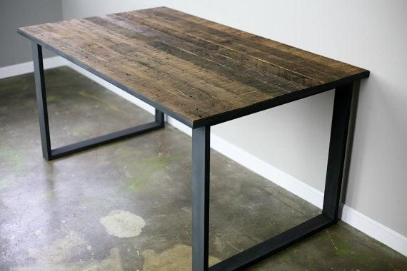Buy a hand made modern industrial dining table desk for Metal desk with wood top