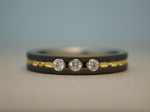Custom Made 3-Diamond Ring In Titanium With 24k Gold Inlay.