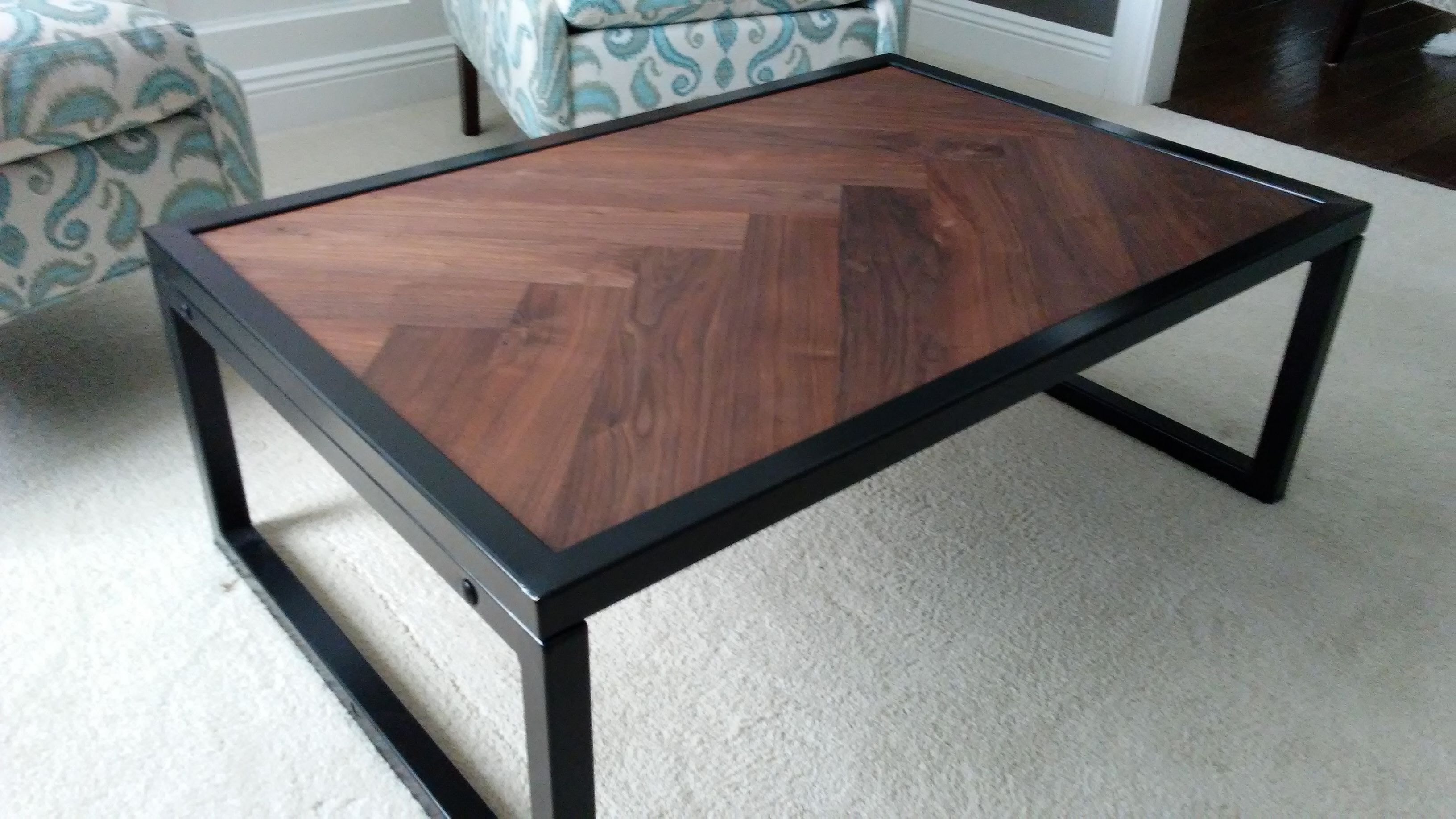 Custom Made Walnut Herringbone Coffee Table With Steel Base