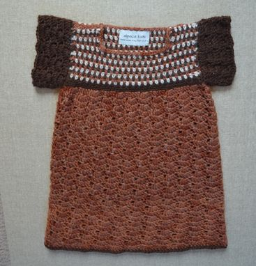 Custom Made Hand Crocheted Toddler Dress In Natural Fall Colors