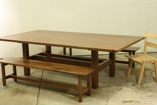Custom Made Arts And Crafts Dining Table And Benches