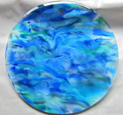 Custom Made Dining Table Top Insert Of Raked Fused Glass: Ocean