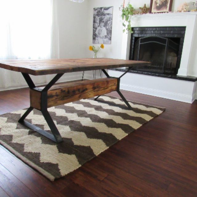 Handmade Industrial Trestle Reclaimed Wood Dining Table By The Urban - Refurbished wood table tops