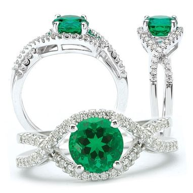 Custom Made 18k Chatham Lab-Created 6.5mm Round Emerald Engagement Ring With Natural Diamonds