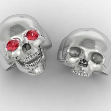 Custom Made Two Skulls, One With Red Eyes