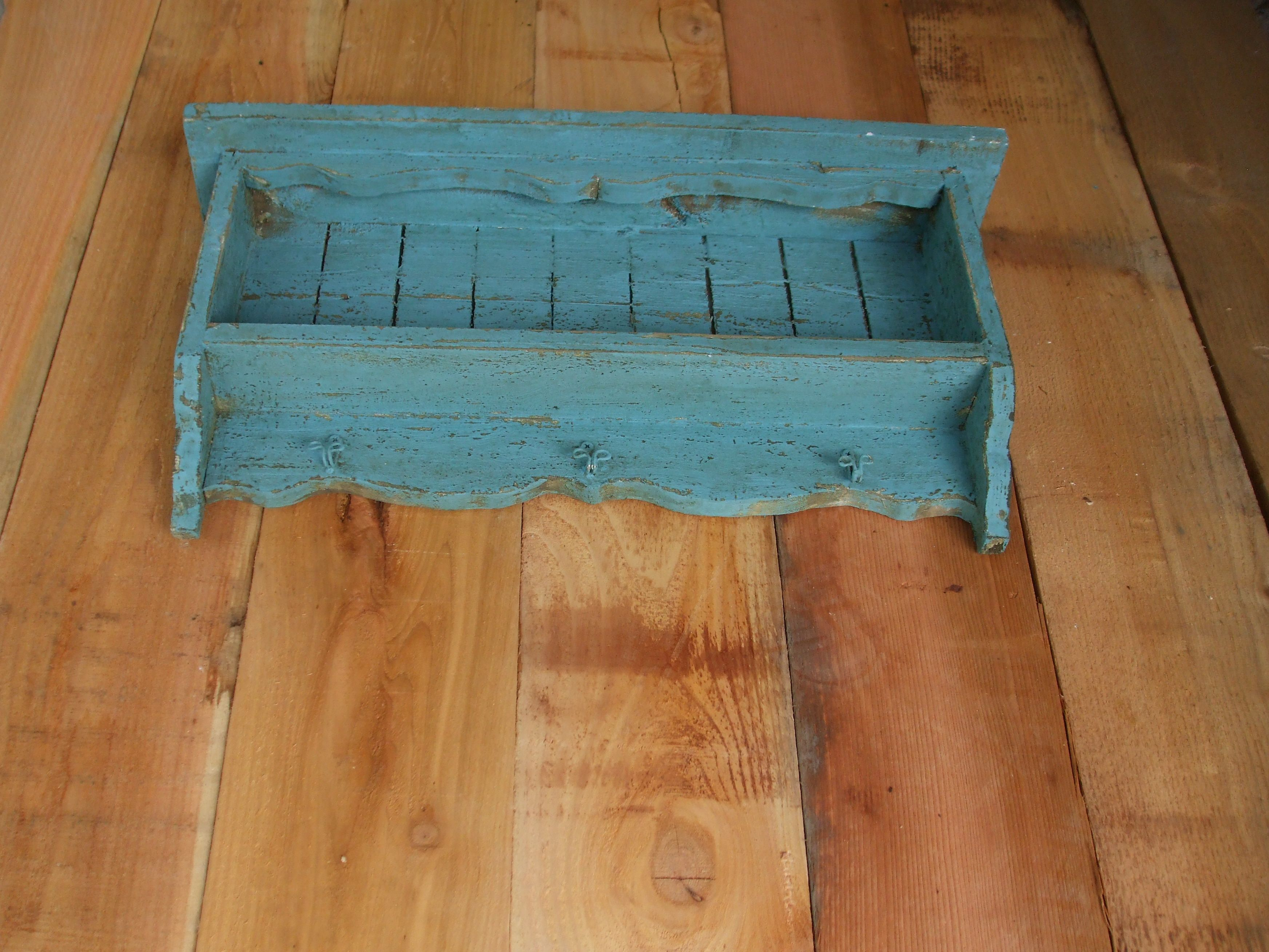 Buy a Hand Crafted Turquoise Blue Wall Shelf, Distressed, Handmade ...