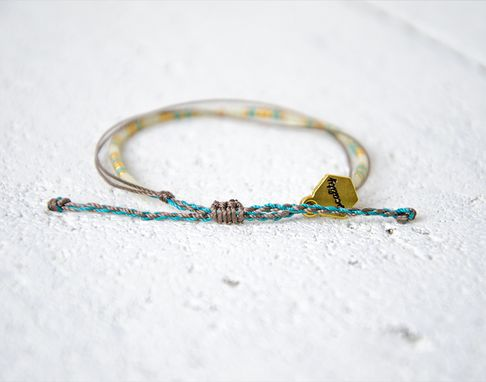 Custom Made Custom Morse Code Bracelet - White, Teal & Gold