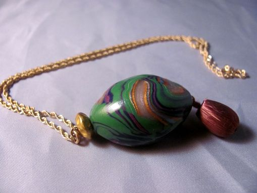 Custom Made Polymer Clay Bead Pendant Necklace On Gp Double Chain