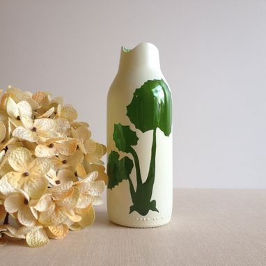 Custom Made Bud Vase, Cream And Green Glass, Botanical Plants, Home Decor