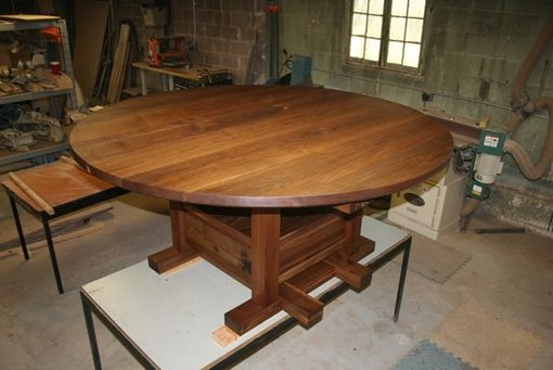 Custom Made 6' Round Solid Walnut Expanding Dining Table