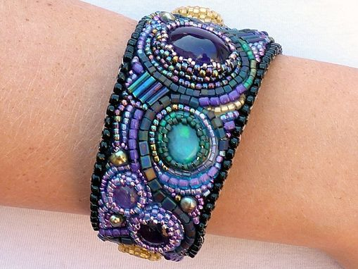 Custom Made Amethyst, Citrine, Peruvian Opal, Freshwater Pearls And Japanese Seed Beads Art Cuff