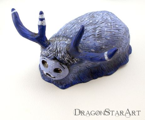 Custom Made Blue Monster Clay Art Object Polymer Clay With Antlers