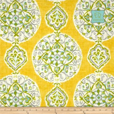 "Custom Made Custom Designer Curtain Panels Dena Designs Mirage Medallion Citrus Linen 90""L X 50""W"