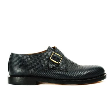 Custom Made Ginsberg Single Monk Shoes Dark Blue Woven Leather Embossing Goodyear Welted. (All Sizes)