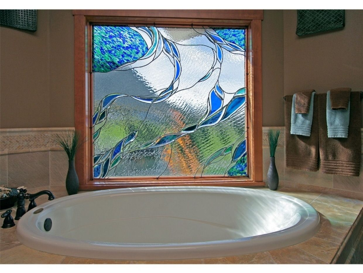 bathroom window glass. Custom Made Stained Glass In A Bathroom Window F