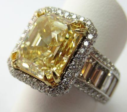 Custom Made 14.5 Carat Yellow Diamond Engagement Ring