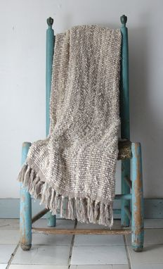 Custom Made Throw Hand Woven Natural Wool Cotton Rustic Cottage Or Beach Living