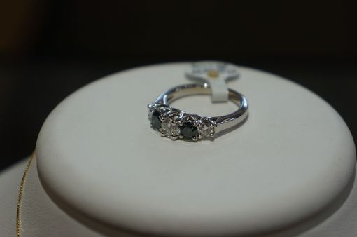 Custom Made Blue And White Diamond Band