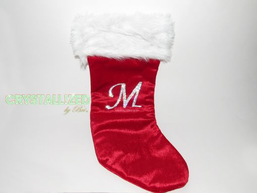 Custom Made Crystallized Monogram Christmas Stocking Made With Swarovski Crystals