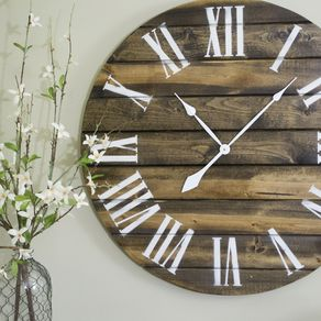 30 Large Wall Clock Brown W White Letters By Ethan Morford