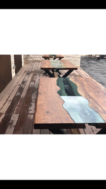 Custom Made River Glass Inlay Table