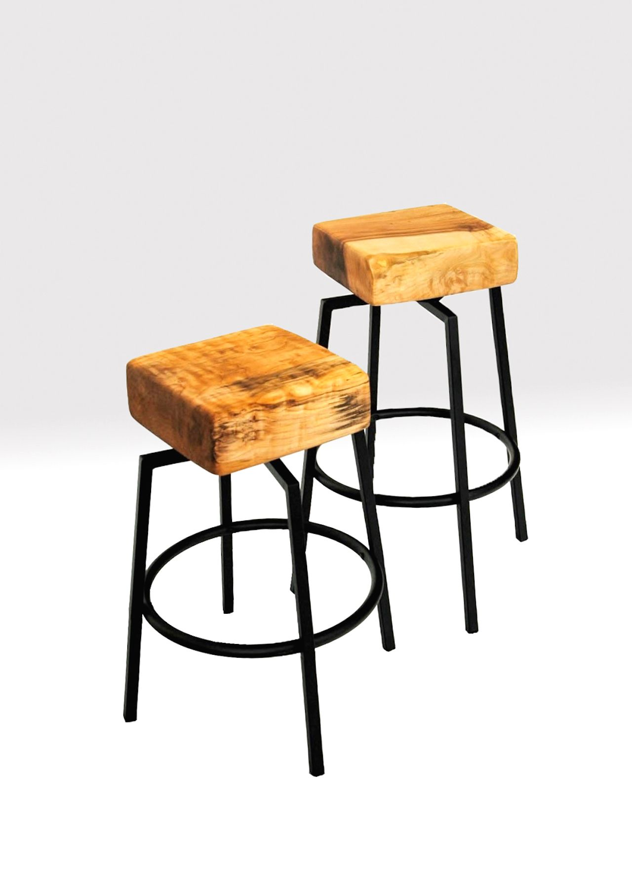 Pleasant Figured Maple Butcher Block And Metal Spinning Stools Inzonedesignstudio Interior Chair Design Inzonedesignstudiocom