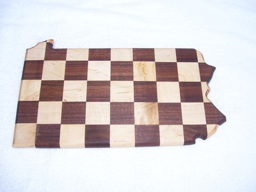 Custom Made Pennsylvania State Cutting Board Checker Design Made Of Walnut & Maple
