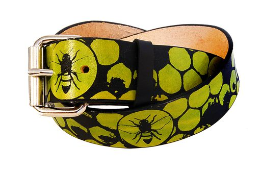 Custom Made Honeybees And Honeycomb Leather Belt