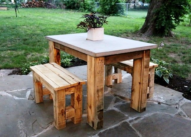 Custom Made Outdoor Table With Concrete Countertop by Second Life Studios  C
