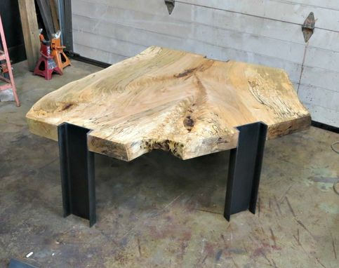 Custom Made Spalted Maple And Steel Coffee Table