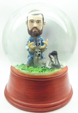 Custom Made Custom Snow Globe Hunter, Deer And Bow - Made To Look Like You