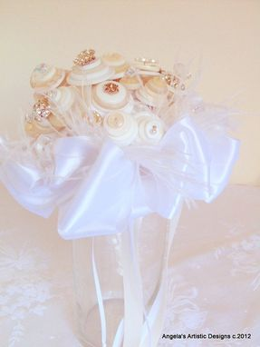 "Custom Made Button Bouquet With Crystals And Rhinestones ""My Fair"""