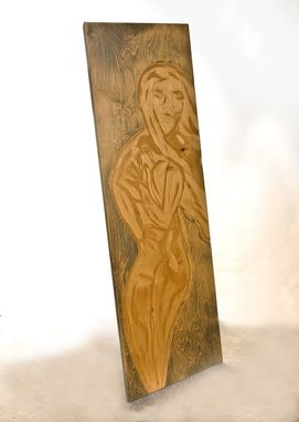Custom Made Woman Figure Wood Wall Carving, Low Relief