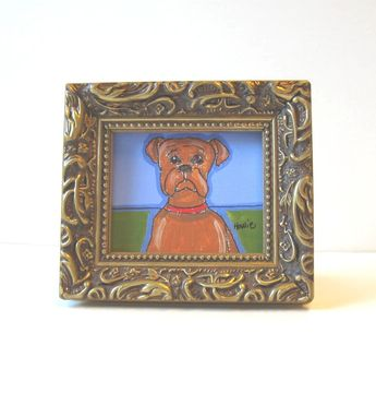 Custom Made Acrylic Animal Painting, Original Framed Miniature Painting