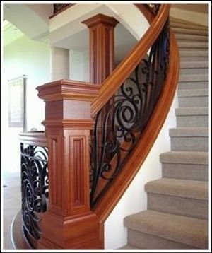 Custom Made Curved Stairs & Custom Newel Posts