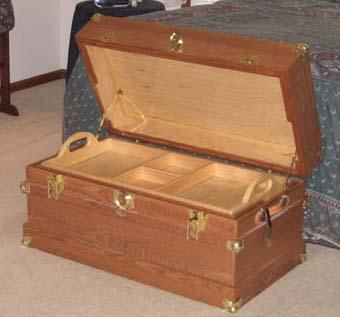 Custom Made Oak Steamer Trunk With Removable Tray