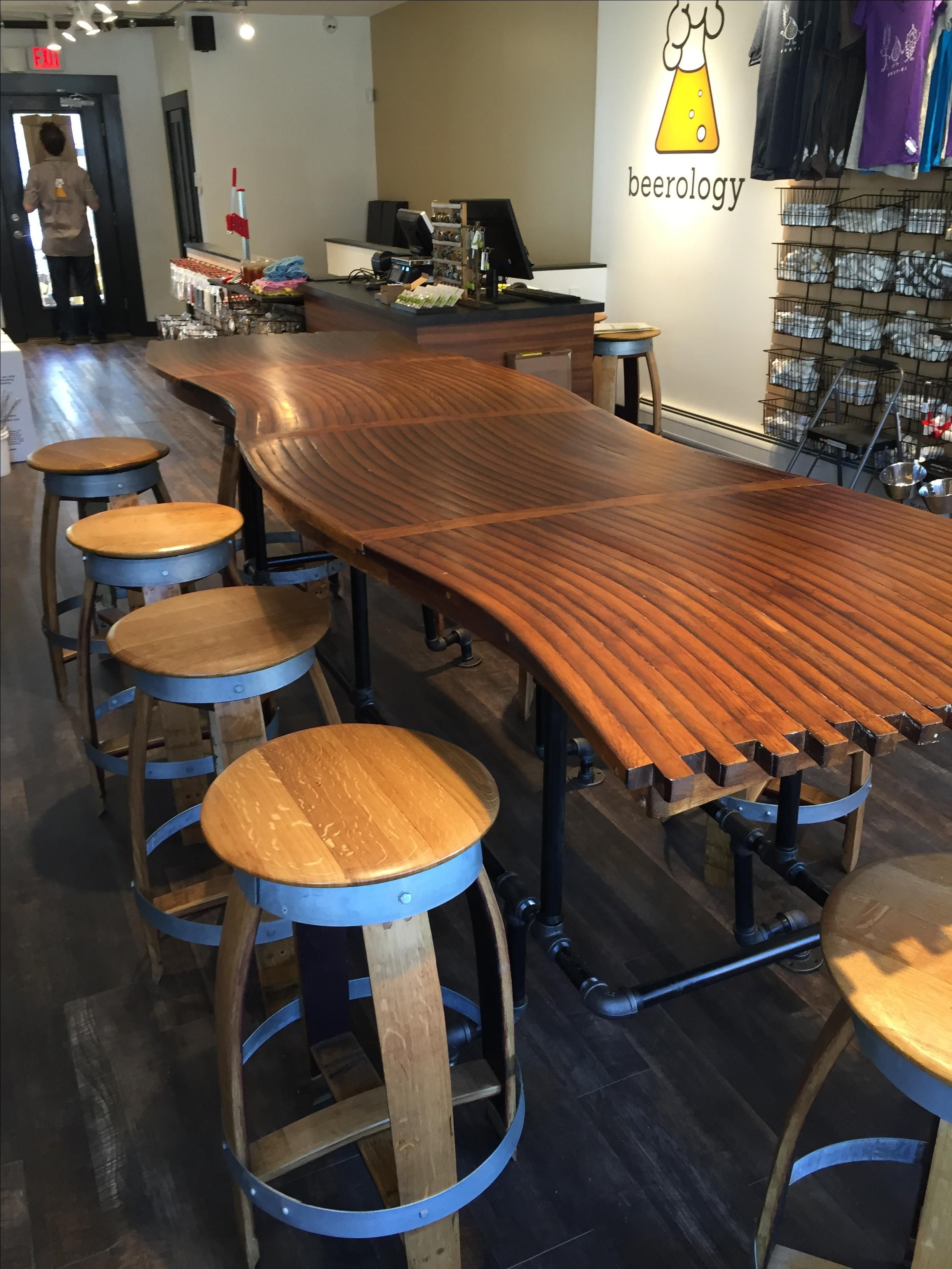custom made barrel stave bar top kitchen counter dining room table with gas pipe base by wood. Black Bedroom Furniture Sets. Home Design Ideas
