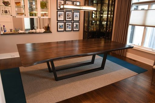 Custom Made Solid Black Walnut Book Matched Live Edge Dining Table