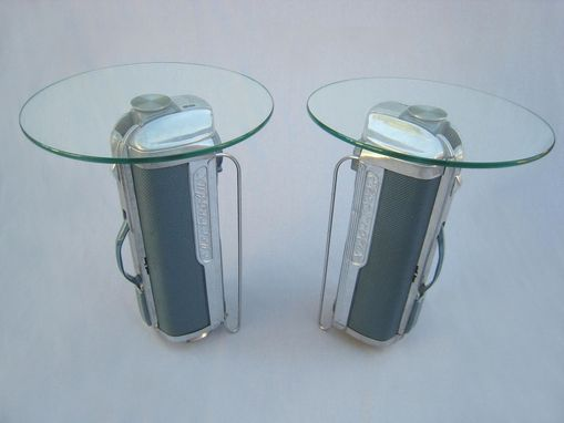 Custom Made Atomic Table - Mid Century Modern Side Table - Electrolux & Glass Eames Era Table