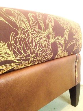 Custom Made Faux Leather And Floral Ottoman