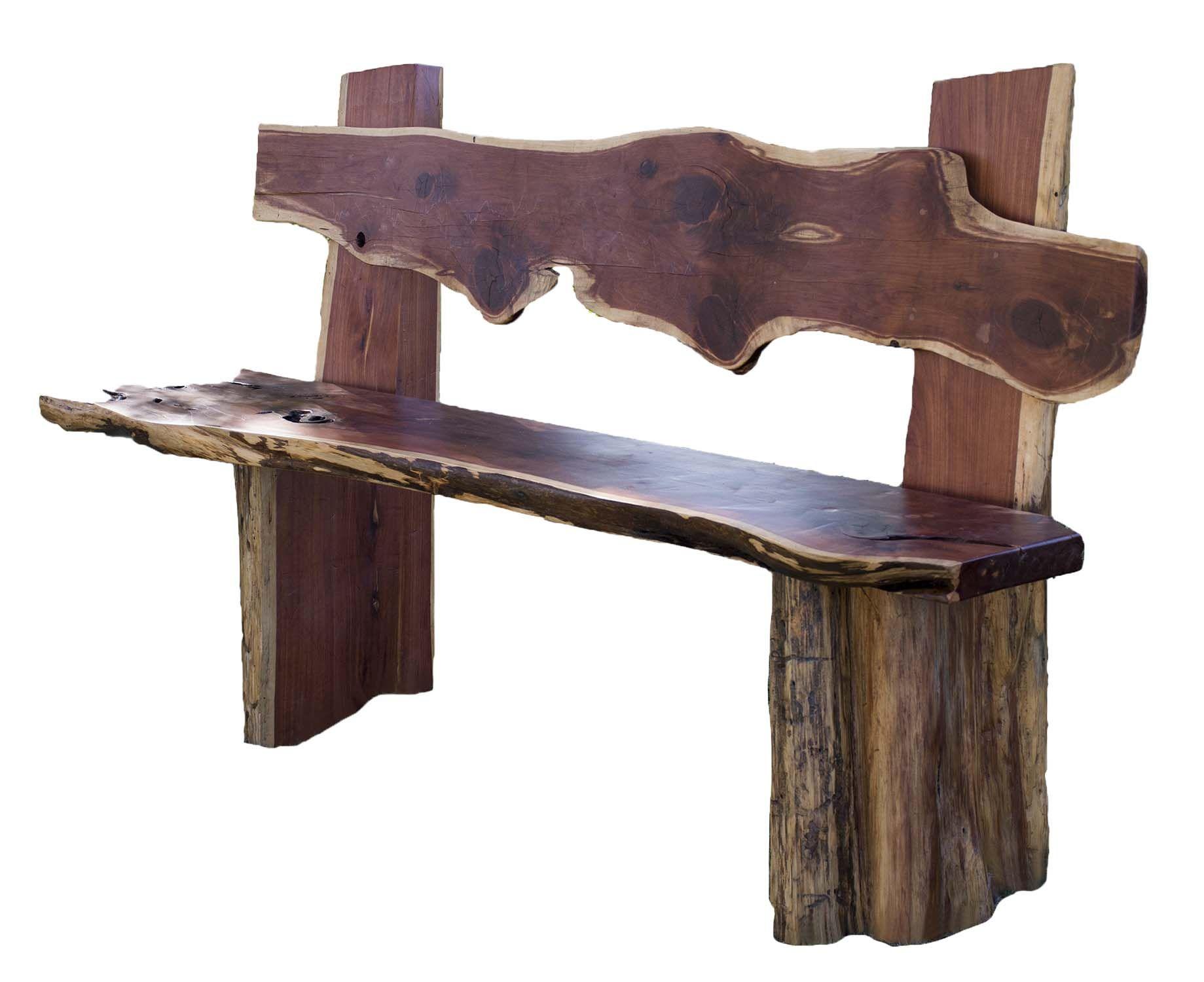 Custom made rustic red cedar bench