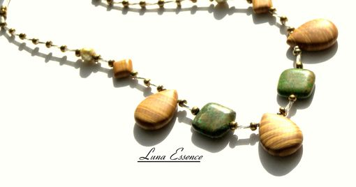 Custom Made Necklace Natural Wood Jasper Green Kameophile