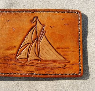 Custom Made Hand Tooled Or Engraved Leather Sailboat Or Ship Wallet
