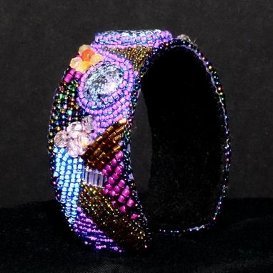 Custom Made Purple Passion Bead Embroidered Cuff Bracelet