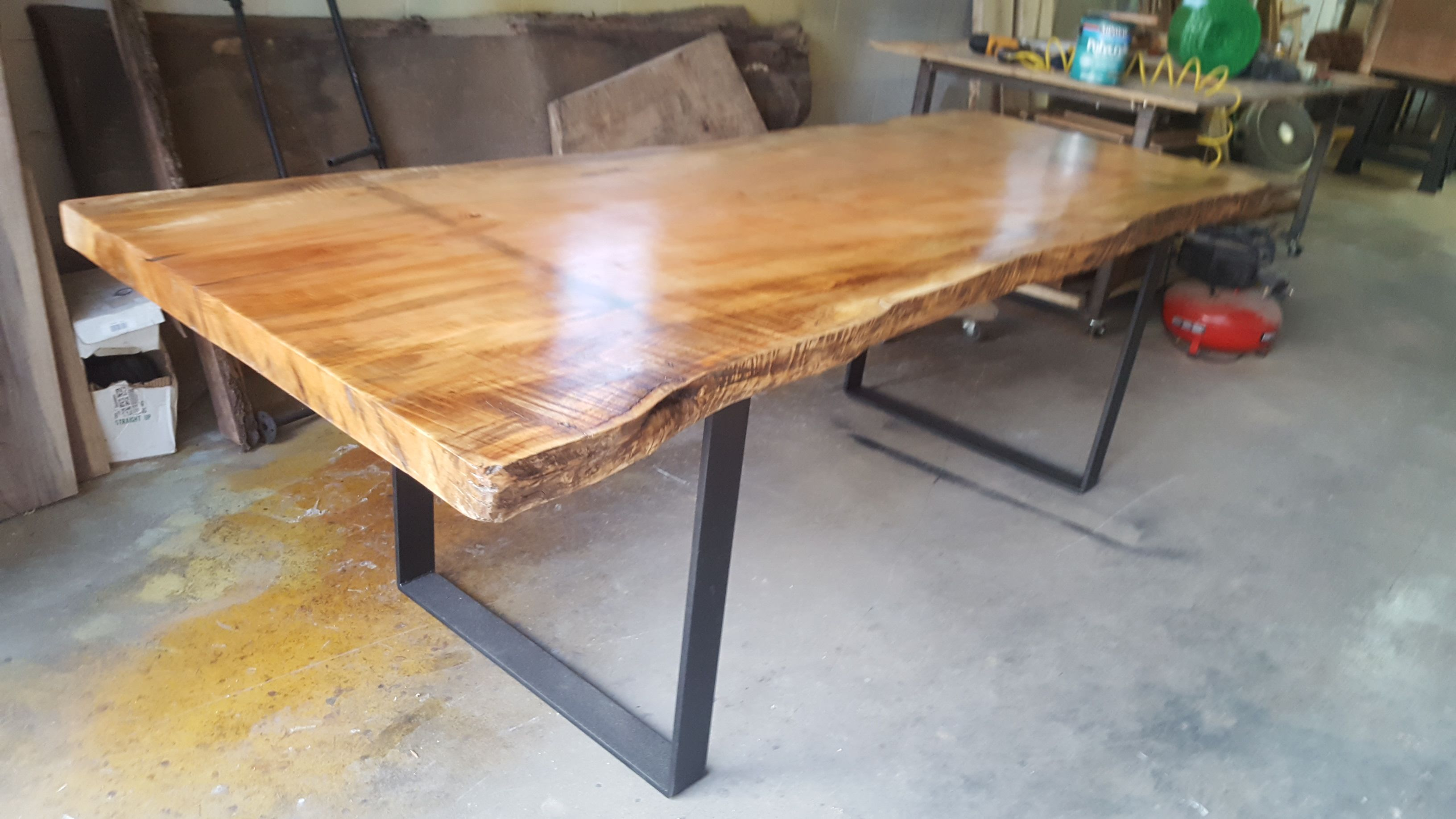 Picture of: Custom Maple Slab Dining Table Conference Table Industrial Live Edge Table By Timbers Steel Shoppe Custommade Com