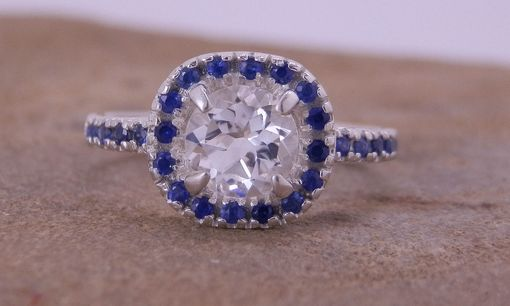 Custom Made White Topaz And Sapphire Alternative Engagement Ring In Choice Of Silver Or Gold