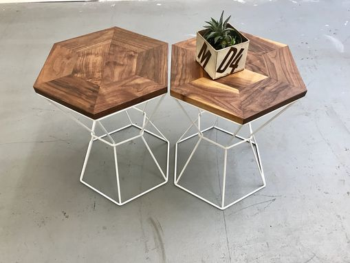 Custom Made Side Table Or Stool  Solid Walnut  And Powder Coated Steel