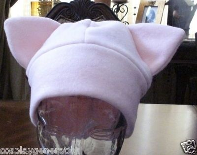 Custom Made Cosplay Pokemon Pink Mew Ear Fleece Warm Winter Hat In 6 Sizes