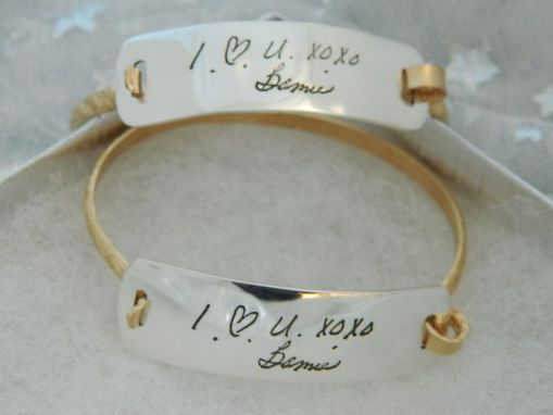 Custom Made Handwriting Bracelet Sterling Silver Rectangle With Gold Wirst