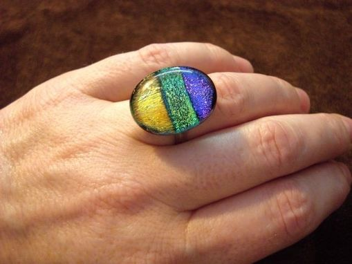 Custom Made Adjustable Dichroic Fused Glass Ring